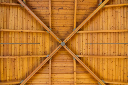 Bright, brown wood pattern on roof inside large room