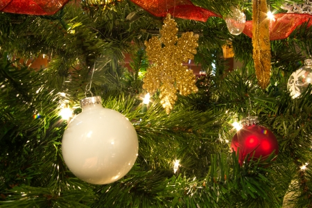 Brightly colored Christmas tree decorations