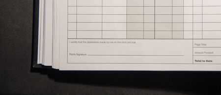 FAA logbook signature box verifying accuracy of document by pilots photo