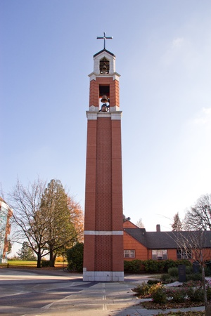 Brick steeple next to church at university