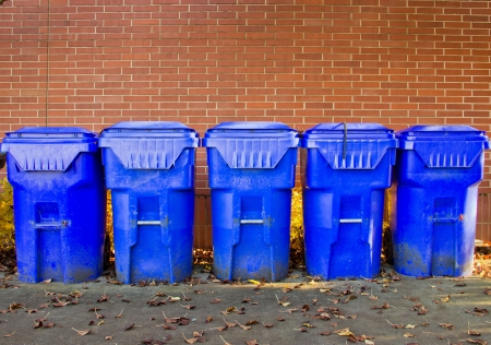 Line up of recycle bins outside of college cafeteria photo