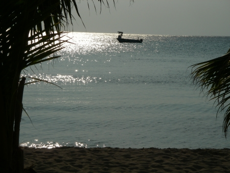 cozumel: Cozumel barco de pesca al atardecer Foto de archivo
