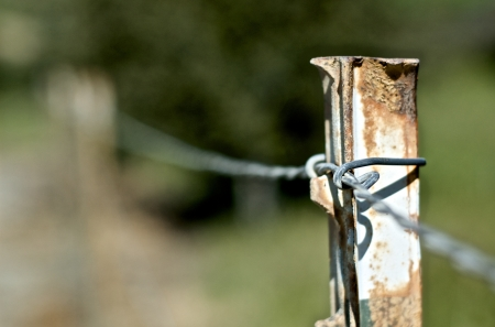 Close up of a barbed wire fence post photo