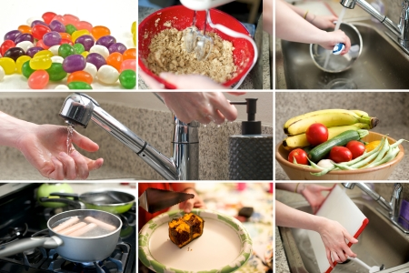 combo: Composite of kitchen and food images Stock Photo