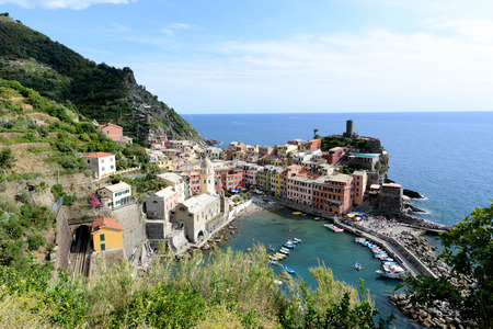 View of Vernazza harbor in Italy