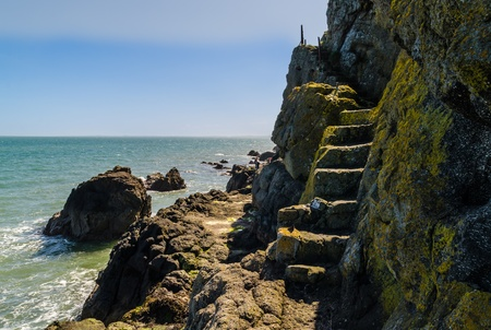 stone stairs: The Gobbins Path, Islandmagee, County Antrim, Northern Ireland Stock Photo