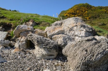 A peculiar rock formation on a North Antrim Coast beach, Ireland  photo