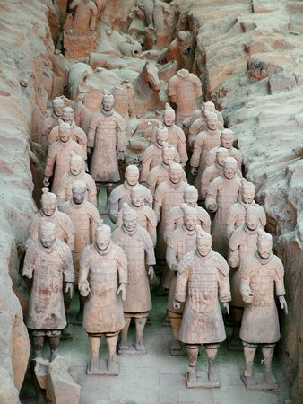 emperor of china: Terracotta Army, the military array, emperor, tomb, tombs, Xian, Shanxi, China, Asia Stock Photo