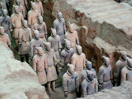array: Terracotta Army, the military array, emperor, tomb, tombs, Xian, Shanxi, China, Asia Stock Photo