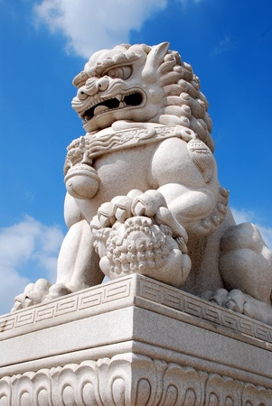 ferocious: Lions, stone carving, sculpture, mighty, animals, ferocious, China, the tall