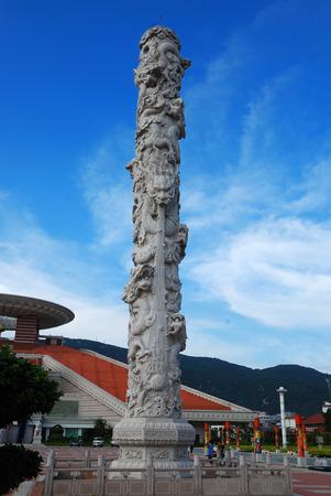 kinship: stone carved dragon column