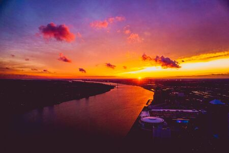 fiery sunset over the Detroit River