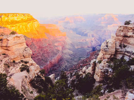 Golden hour sunrise at grand canyon Stock Photo