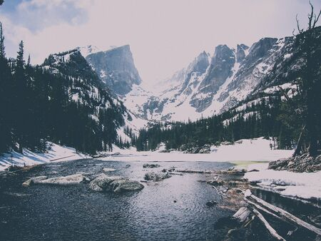 hipster mountain vista with a lake