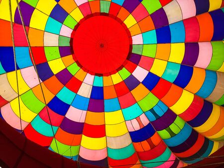 inside a patchwork hot air balloon