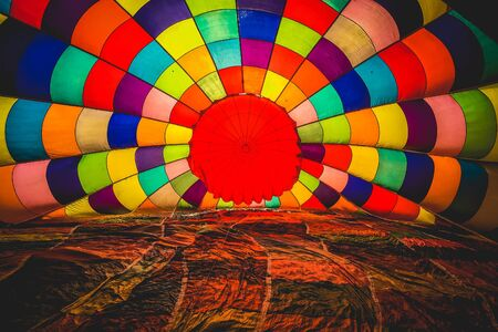 inside of a colorful hot air balloon Stock Photo
