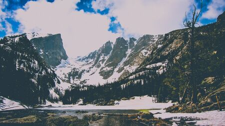 mountain by a lake in colorado