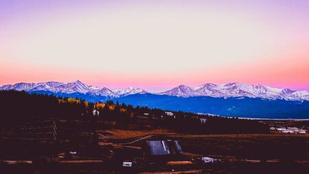 pink sunrise on the mountain range
