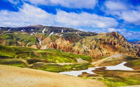 Rainbow mountains on a sunny day in Laugavegur, Iceland Stock Photo