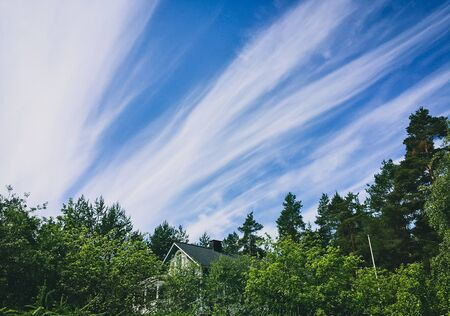 streaming clouds in a blue sky