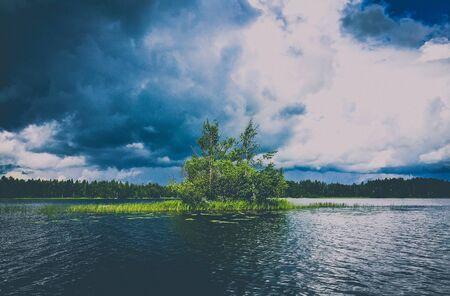 tree island on a stormy lake Stock Photo