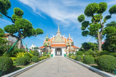 Famous touristic buddhist temple in Thailand. Wat Arun the temple of dawn in Bangkok
