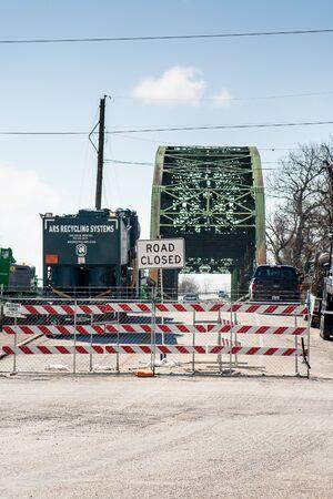 Wharton, Texas - February, 2017:  An old bridge in Wharton Texas is closed off for repairs Editorial