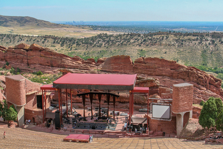 DENVER, COLORADO, AUGUST 2007: Setting up for a concert at  Red Rocks Park and Amphitheatre