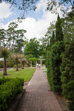 A couple enjoys the botanical gardens
