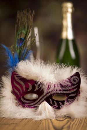 Carnival mask , glasses  champagne bottle  photo
