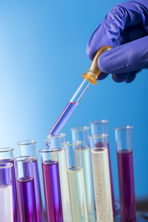 Workplace modern laboratory for molecular biology test on blue