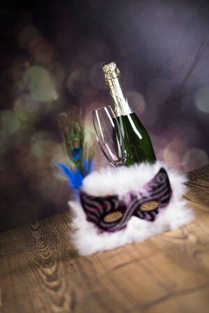 Fireworks, carnival, fancy dress ball or party, carnival mask Zdjęcie Seryjne - 28822132