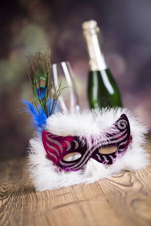Fireworks, carnival, fancy dress ball or party, carnival mask Zdjęcie Seryjne - 28814146