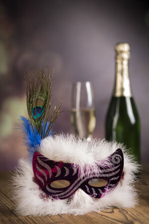 Fireworks, carnival, fancy dress ball or party, carnival mask Zdjęcie Seryjne - 28814161