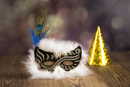 Fireworks, carnival, fancy dress ball or party, carnival mask Zdjęcie Seryjne - 28814170