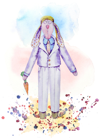 Watercolor rag hare doll in suit with carrot