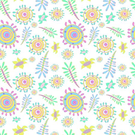 microbio: Seamless vector abstract pattern with striped flowers, circles, petals. Colorful childish style microbe, germs, animals, seaweed, flowers. Romantic elements for wedding invitations, birthday