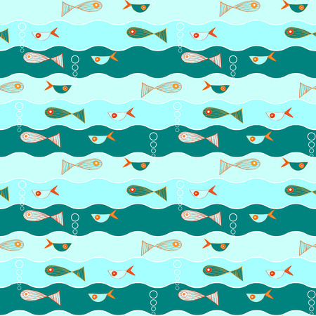 different directions: Seamless vector handdrawn pattern with fishes flow different directions. Air bubbles in blue water