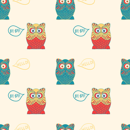 say: Owl says Handdrawn seamless vector pattern with owl say hello bye bye