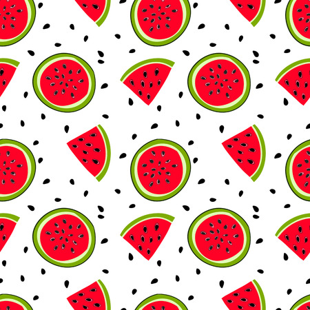 mellow: watermelon with seeds Seamless pattern with sweet mellow watermelon bits and slices with seeds