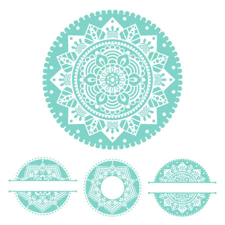 Mandala, hand drawn vector illustration with traditional balinese, indian pattern, yoga surface design. Circle monogram frame, lace name border. Isolated elements for card, logo, decal, background Vettoriali