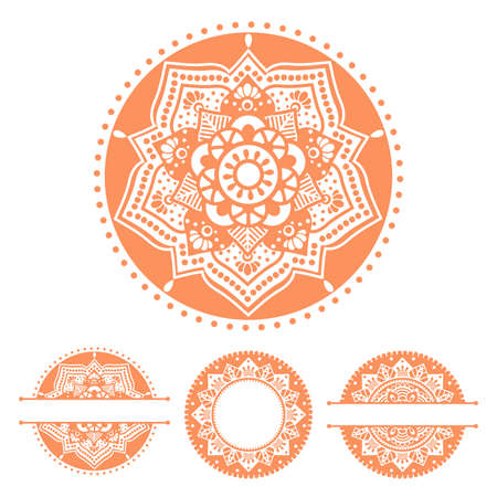 Set with round mandalas. Hand drawn vector illustration with traditional balinese, indian pattern, yoga surface design. Circle monogram frame, lace name border. Isolated elements for card, logo, decal