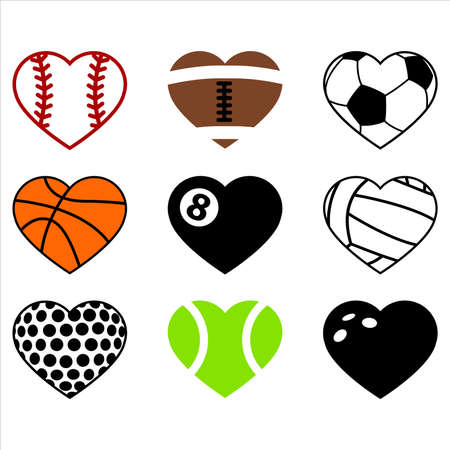 Sports hearts, baseball, american football, gridiron, basketball, billiard, pool, volleyball, golf, tennis, bowling ball set. Vector illustration, isolated elements decal, sticker, card, invitation