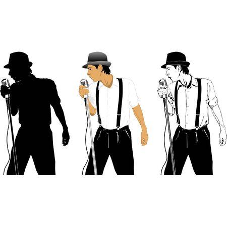 Sängerin mit Mikrofon in drei Vektorgrafik