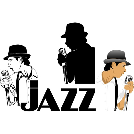 jazz singer:           the word &quotjazz&quot, with three different images singer