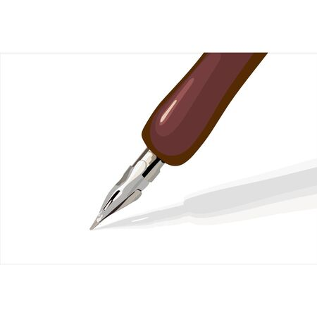 Vector steel pen that writes something on a white background