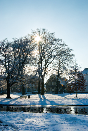 Oranjepark Apeldoorn and surrounding houses in the snow Editorial