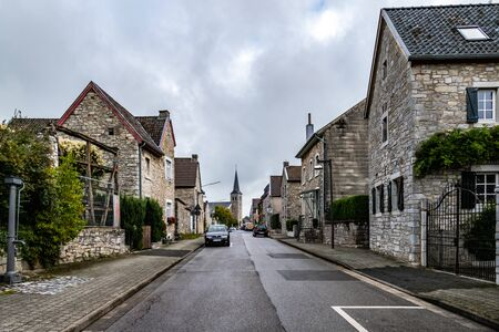 Village view on main street and historical houses of Old Breinig, DE