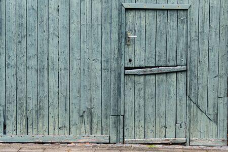 Green painted wooded Dutch Barn Door - horizontal