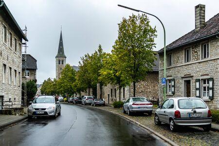 View on main street and Saint-Barbarachurch Alt Breinig
